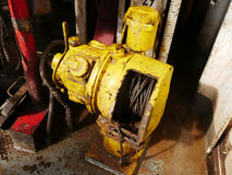 Old Air Winch (Air Tugger) On the Rig Floor Royalty Free Stock Images