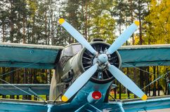 Old aircraft biplane. Old aircraft. Screw of Soviet aircraft AN-2 close-up Stock Image