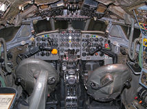Old aircraft cockpit. General view of the old aircraft cockpit royalty free stock image