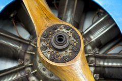 Old aircraft engine with wood propeller Stock Image