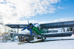 Old aircraft in winter Royalty Free Stock Images