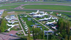 Old aircrafts at aviation museum in Kiev stock footage