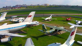 Old aircrafts at aviation museum in Kiev stock video footage