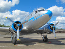 Old airliner. PILSEN, CZECH REPUBLIC - AUGUST 28: Old historic airliner Lisunov Li 2 on display at the Pilsen airshow on August 28, 2011 in Pilsen, Czech stock photography