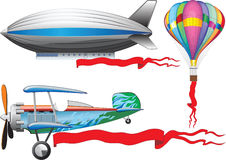 An old airplane, a balloon and airship. Hand drawn Vector Illustration