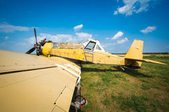 Old airplane close up Royalty Free Stock Photo