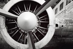 Old Airplane engine and perpeller Royalty Free Stock Photography