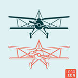 Old airplane icon. Retro biplane symbol. Vector illustration Stock Image