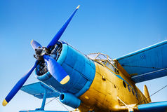 Old airplane. Picture of an old airplane ready for takeoff Stock Image