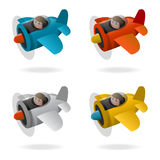 Old airplane. Propeller plane in four colors, cartoon illustration Royalty Free Stock Image