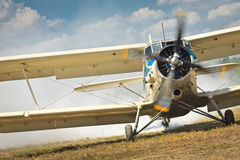 Old airplane ready to start Stock Image