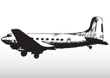 Old airplane sketching. Black and white sketching of a old airplane. Possibly DC-3 vector illustration