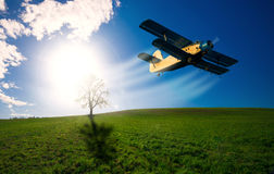 Old airplane. In the sky Royalty Free Stock Photography
