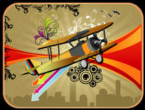 Old airplane vector composition. Illustration over a color background Stock Images
