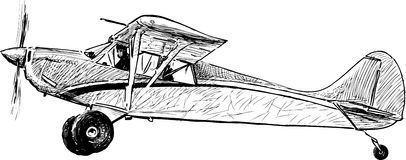Old airplane. Vector image of an old airplane Stock Photos