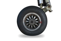 Old airplane wheel on white background Stock Photography