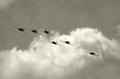 Old airplanes in flight Stock Image