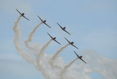 Old airplanes in formation Royalty Free Stock Images