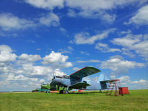 Old airplanes on green grass  Belgorod Oblast. Royalty Free Stock Photography