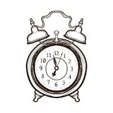 Old alarm clock. Coloring book for adults. Hand drawn old alarm clock. Vintage alarm watch.Wake-up time. Coloring book for adults vector illustration