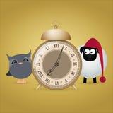 Old alarm clock, owl, sheep, wake-up, insomnia Stock Photography