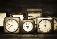 Old alarm clocks stock photography