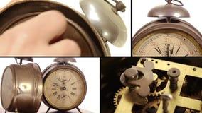 Old alarm clocks collage. Vintage alarm clocks and cog stock video footage