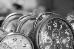 Old alarm clocks Stock Images