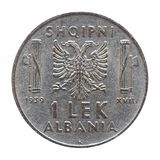 Old Albanian Lek isolated over white. Old Albanian 1 Lek coin, circa 1939 isolated over white background Royalty Free Stock Photography