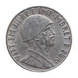 Old Albanian Lek with Vittorio Emanuele III King isolated over white. Old Albanian 1 Lek coin with Victor Emmanuel III King and Emperor (Vittorio Emanuele III Re Royalty Free Stock Image