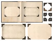 Old album book page photo frames corners isolated. Old album book page with photo frames and corners isolated on white background Royalty Free Stock Image