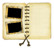 Old album with frames on isolated background. Old album with frames isolated background Royalty Free Stock Photo