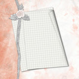 Old album with hand drawn roses and notebook sheet Stock Image