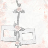 Old album with painted roses and frames Royalty Free Stock Photography