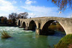 Old alike stone bridge Greece Royalty Free Stock Images