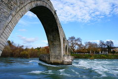 Old alike stone bridge Greece Stock Photo