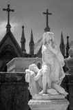 Old allegory statue to night and silence Royalty Free Stock Photos