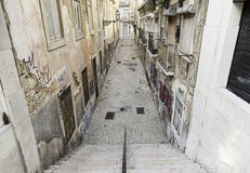 Old alley Lisbon Stock Images