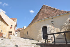 Old alley in Rasnov fortress Stock Images