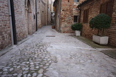 Old alley in Ripatransone, marche region, Italy Stock Images