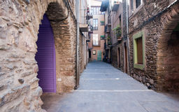Old alley Seu d'Urgell Catalonia Spain royalty free stock images