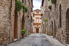 Old alley in Trevi, Umbria, Italy Stock Images