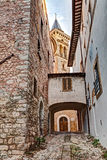 Old alley in Trevi, Umbria, Italy Royalty Free Stock Image