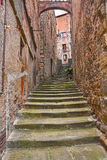 Old alley in the village Anghiari, Arezzo, Tuscany, Italy Stock Images