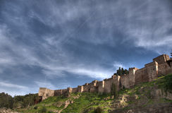 Old Almohad citadel of Malaga, Andalusia. View of the old Arab citadel of the city of Malaga in Andalusia royalty free stock photography