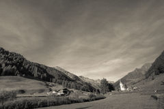 Old alpine church at the end of Ahrntal valley, Italy Royalty Free Stock Photo