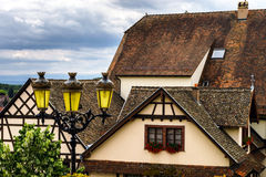 Old alsacien village street view. France, summer Royalty Free Stock Photos