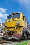 Thailand : Old Alsthom locomotive head. Old Alsthom locomotive head parking at Kabinburi station Thailand Royalty Free Stock Image