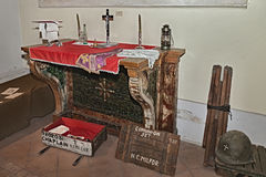 Old altar and American chaplain set Stock Images
