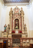 Old altar inside an old catholic church Stock Photo